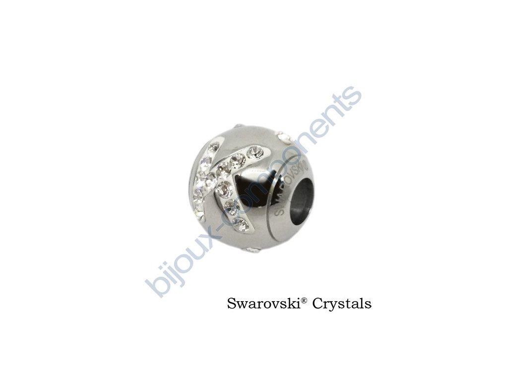 SWAROVSKI CRYSTALS BeCharmed Pavé - písmeno K, stainless steel, 12x11mm