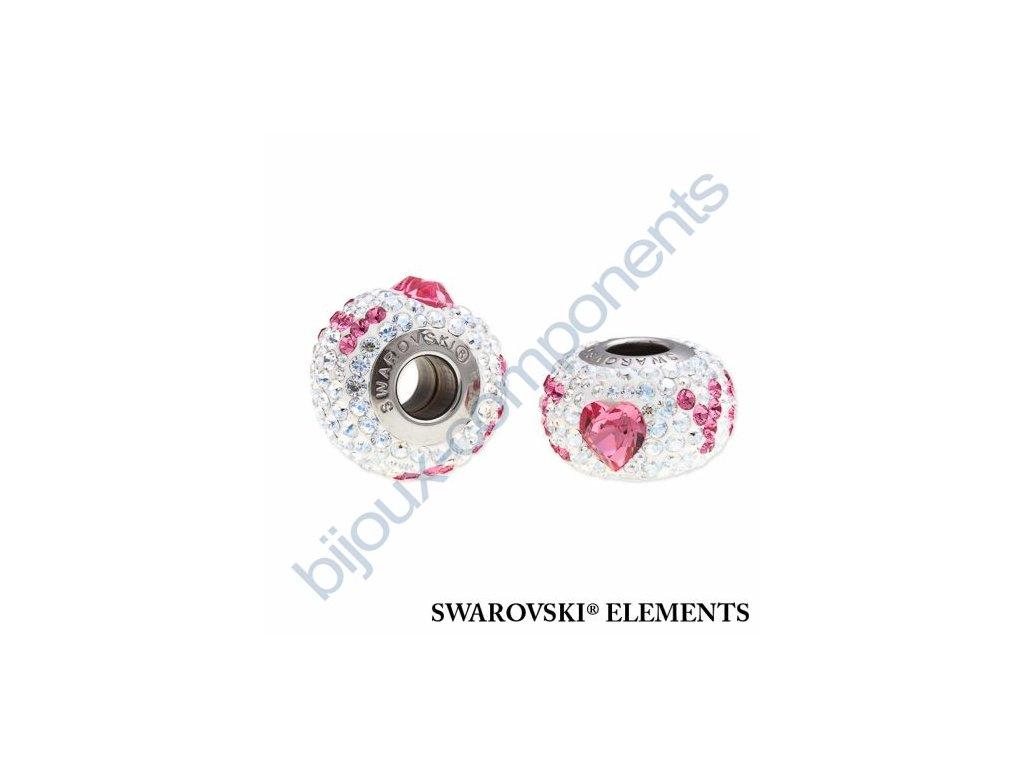 SWAROVSKI ELEMENTS BeCharmed Pavé Den matek - white/crystal moonlight, rose steel, 14mm