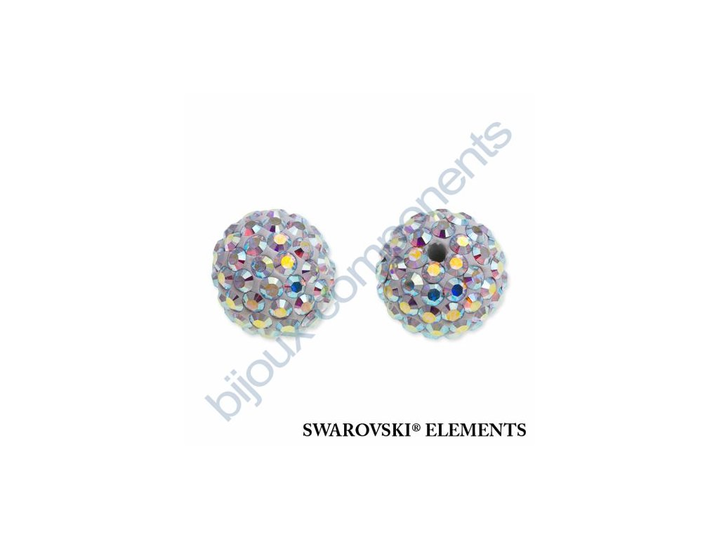 SWAROVSKI ELEMENTS Pavé korálky - white/crystal AB, 8mm