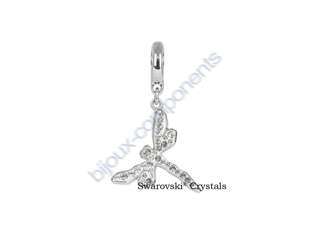 SWAROVSKI CRYSTALS přívěsek - vážka 18mm na kroužku - rhodium, white / crystal