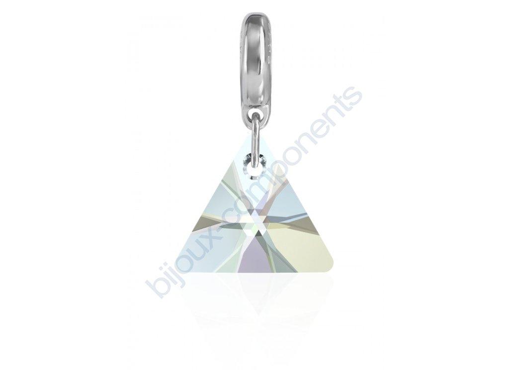 SWAROVSKI CRYSTALS přívěsek - trojúhelník 6628/12 mm na kroužku - rhodium, crystal AB