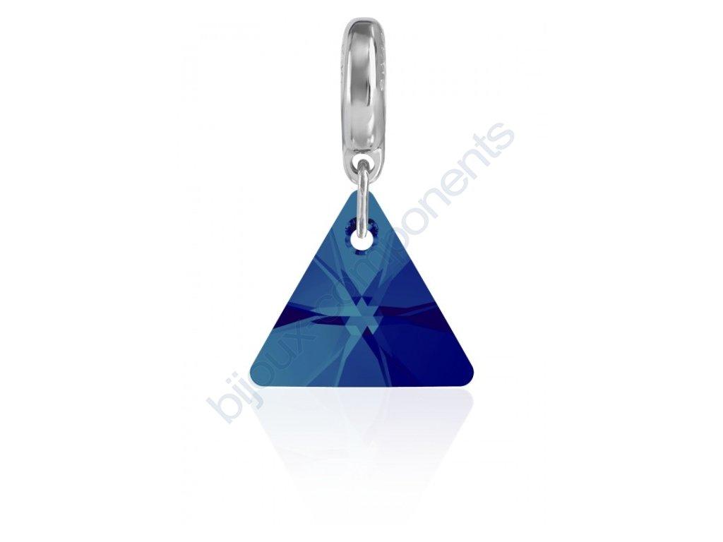 SWAROVSKI CRYSTALS přívěsek - trojúhelník 6628/12 mm na kroužku - rhodium, crystal BBL