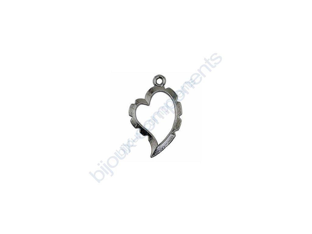 Přívěsek zakřivené srdce k obdrátování, cca 20x31mm