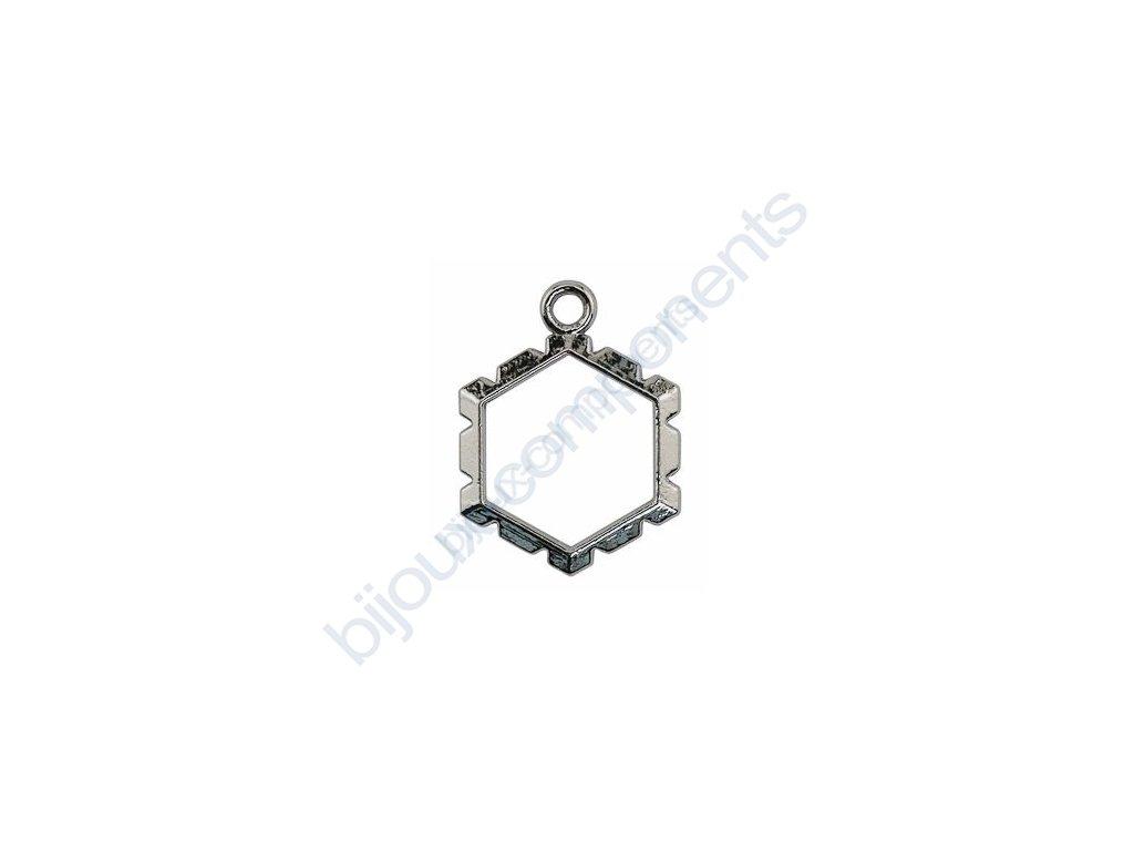 Přívěsek šestiúhelník k obdrátování, cca 18x25mm