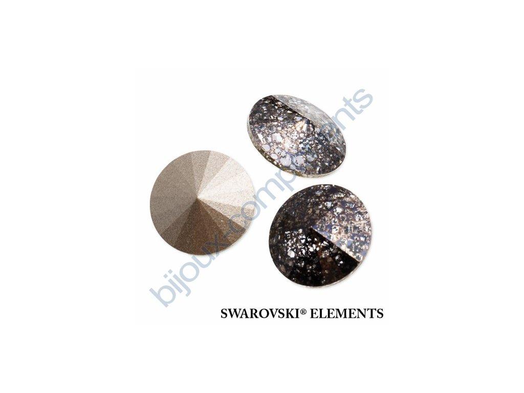 SWAROVSKI ELEMENTS kameny - Rivoli Chaton, crystal black-pat F, SS47 (cca 10mm)