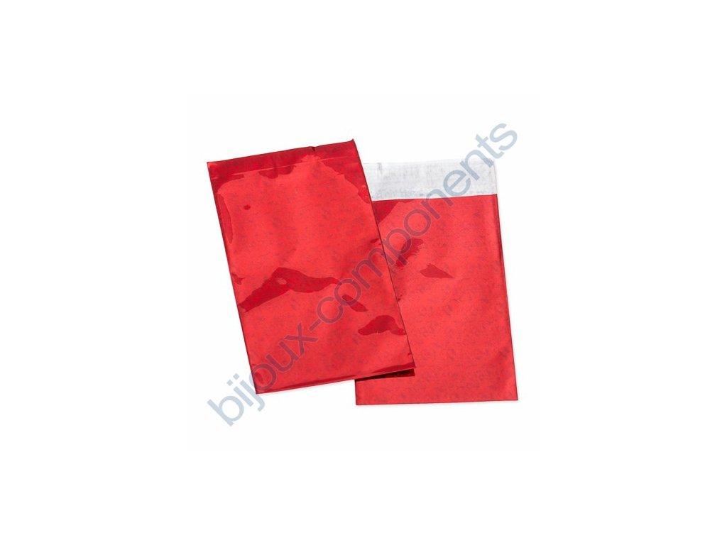Sáček celofánový - červený, samolepící, cca 75x120mm + 20mm lepící plocha