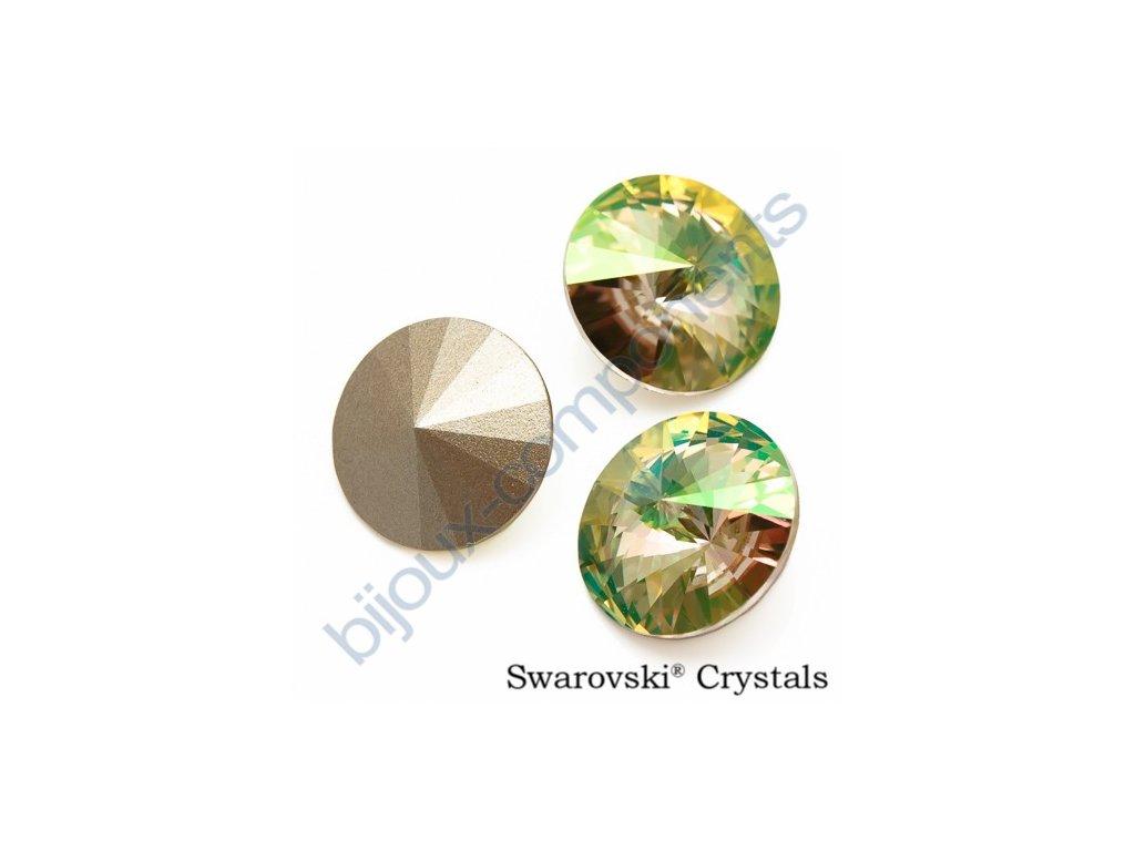 SWAROVSKI ELEMENTS kameny - Rivoli Chaton, crystal lumingreen F, SS47 (cca 10mm)