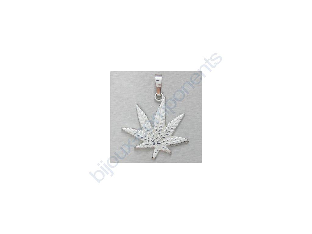 Přívěsek - marihuana, cca 23x19mm