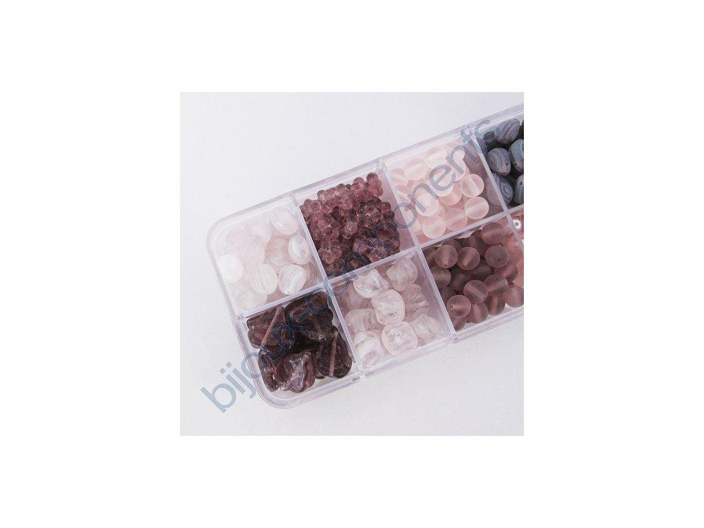 Dárkový set s korálky - růžovo-fialová kombinace, cca 208g