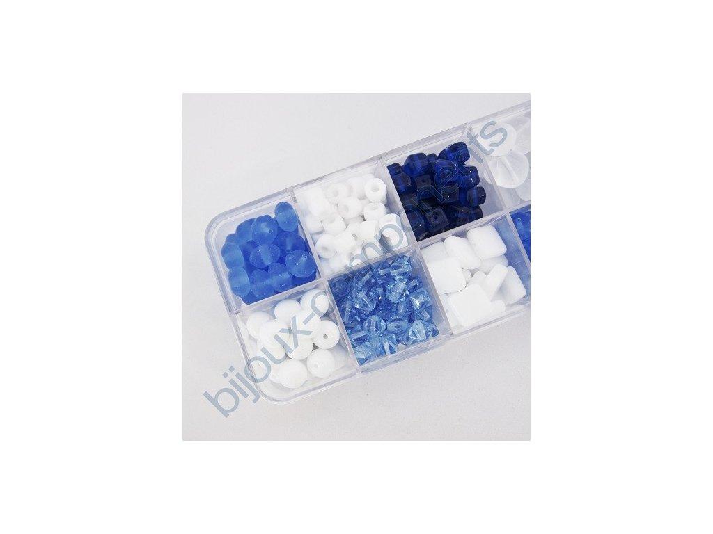 Dárkový set s korálky - modro-bílý set, cca 208g