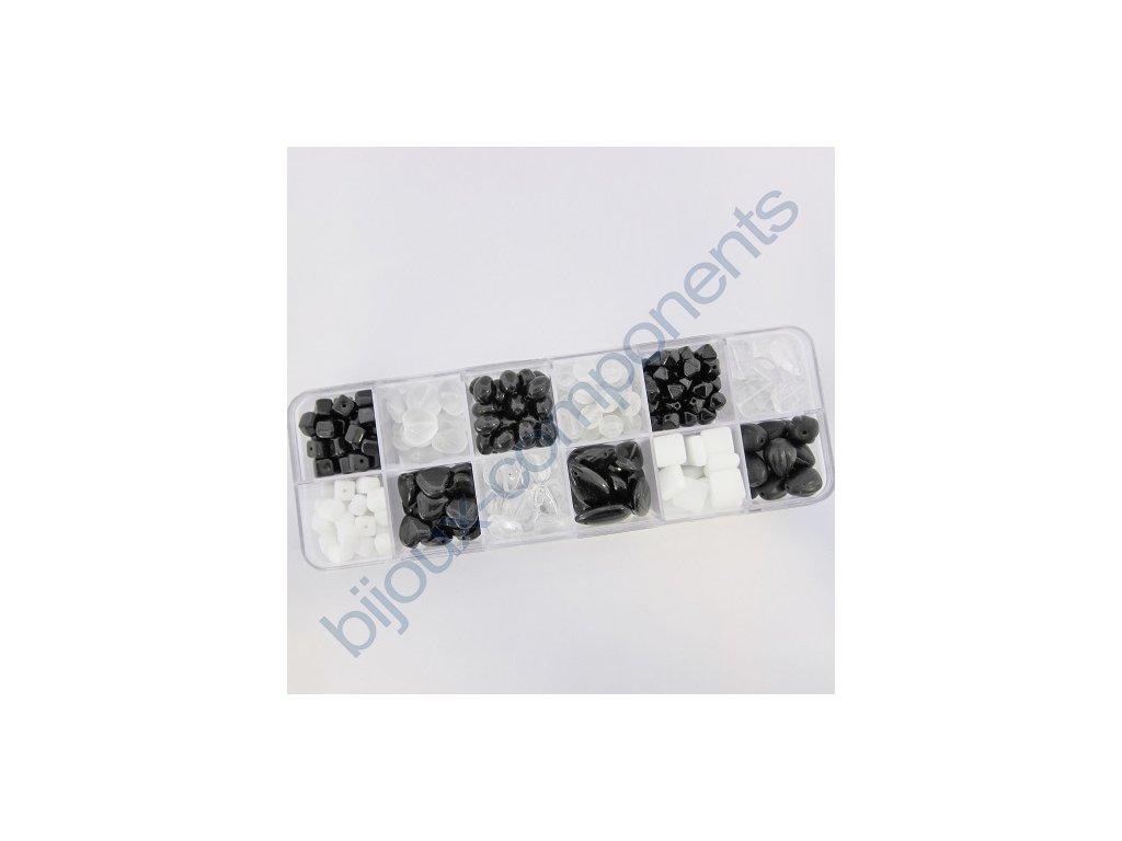 Dárkový set s korálky - černo-bílá kombinace, cca 170g