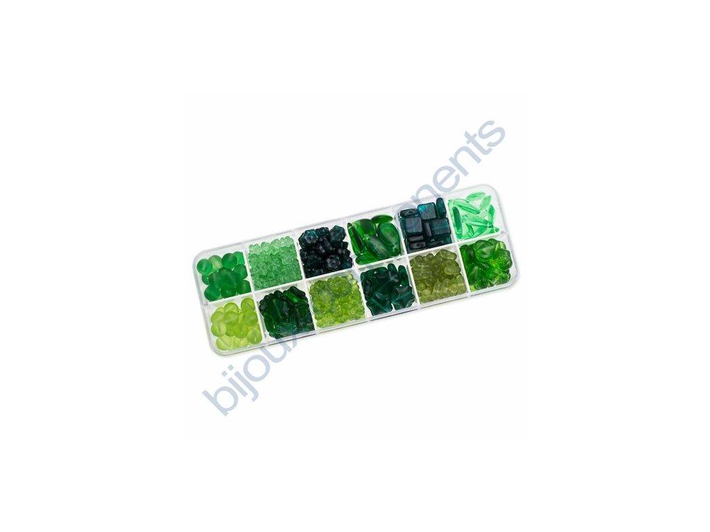 Dárkový set s korálky - zelený set, cca 170g