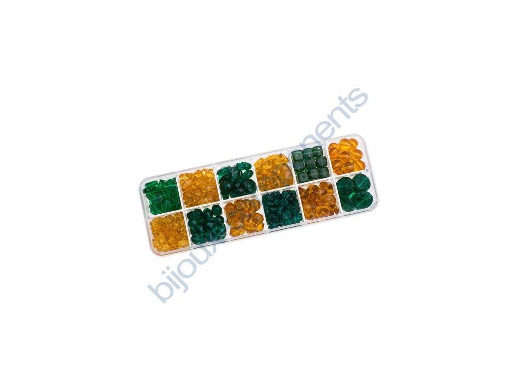 Dárkový set s korálky - topazovo-zelená kombinace, cca 170g