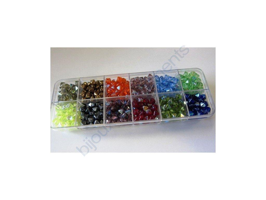 Dárkový set s korálky - mix barev cca 6x5mm pokov AB, cca 170g