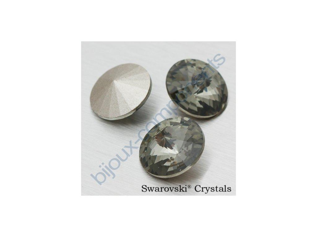 SWAROVSKI ELEMENTS kameny - Rivoli Chaton, black diamond F, SS39 (cca 8mm)