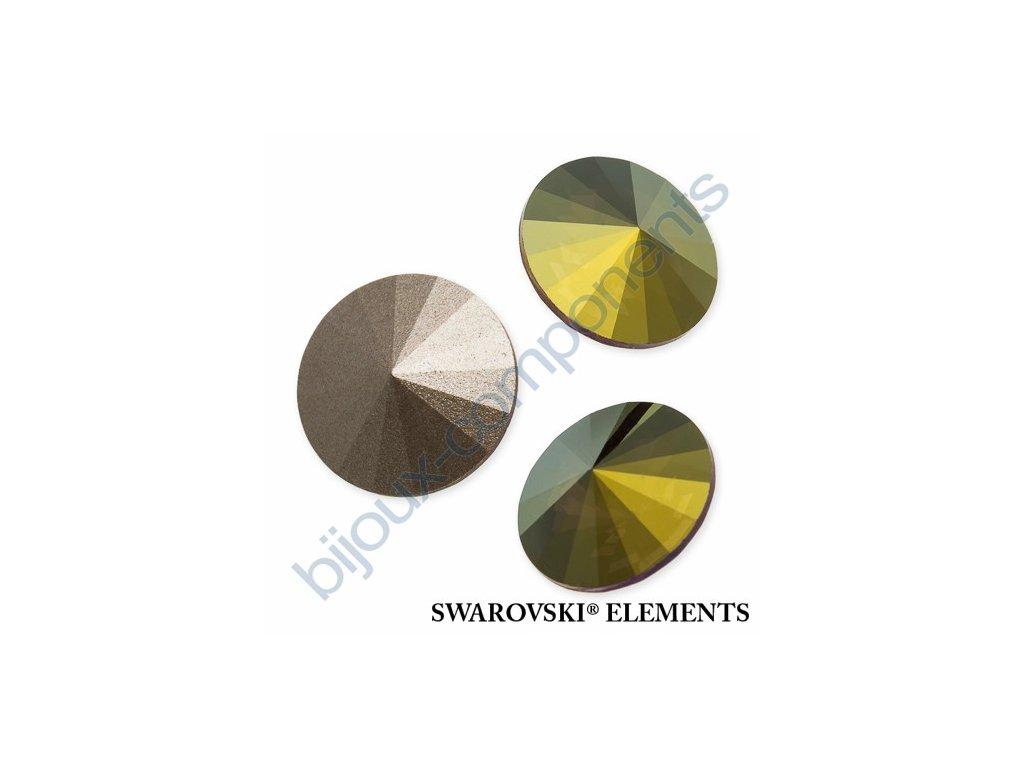 SWAROVSKI ELEMENTS kameny - Rivoli Chaton, crystal iridescen green F, SS39 (cca 8mm)