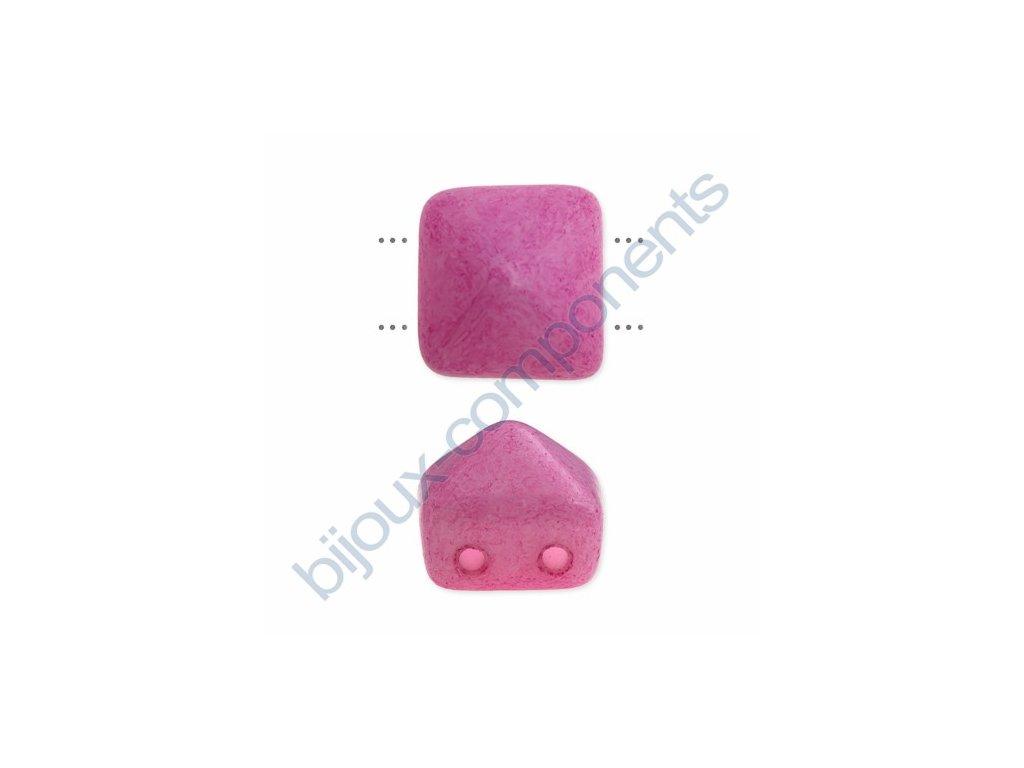 Skleněné korálky mačkané - dvoudírkové pyramidy styl Beadstud, růžové - barvené