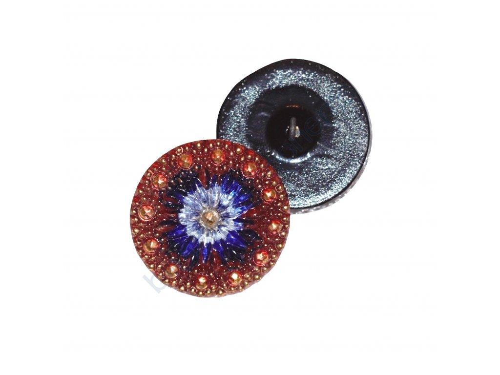 Skleněný knoflík s květinovým motivem, černý, s vrchním AB pokovem