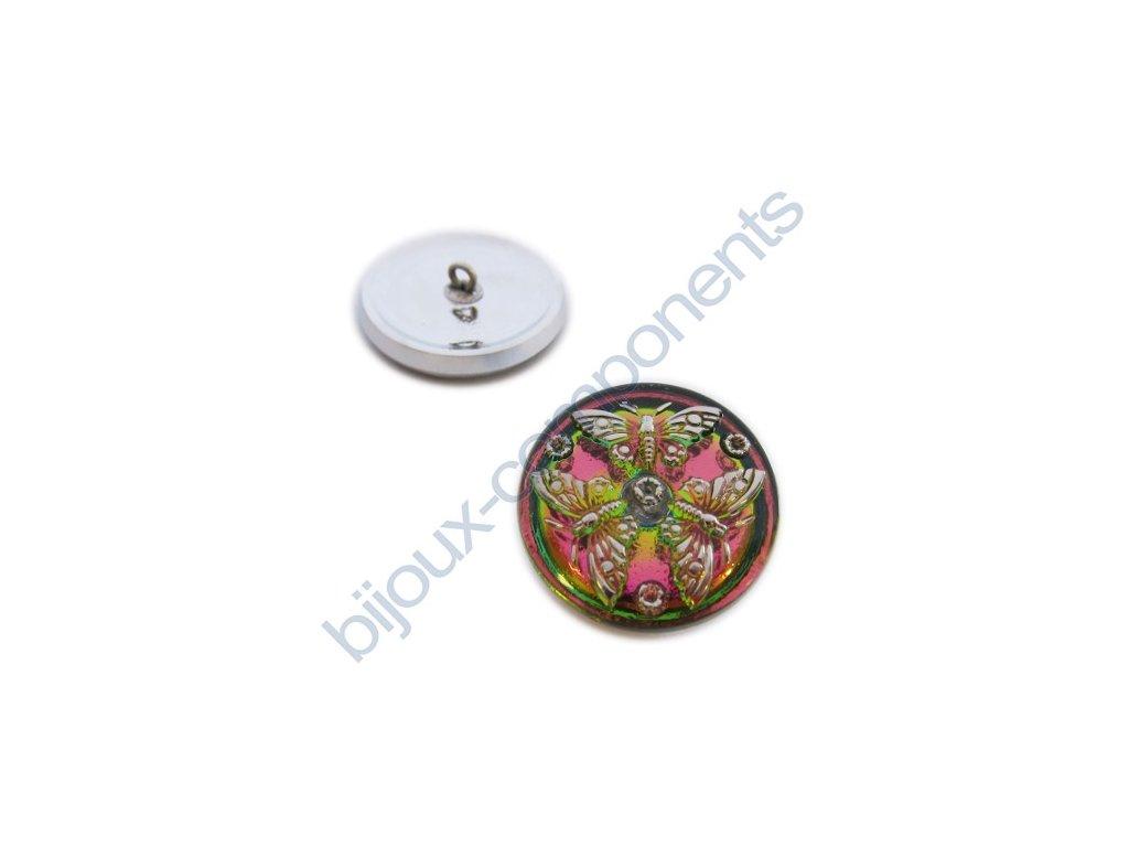 Skleněný knoflík s motivem motýlů, růžovo-zelený, platinový motiv