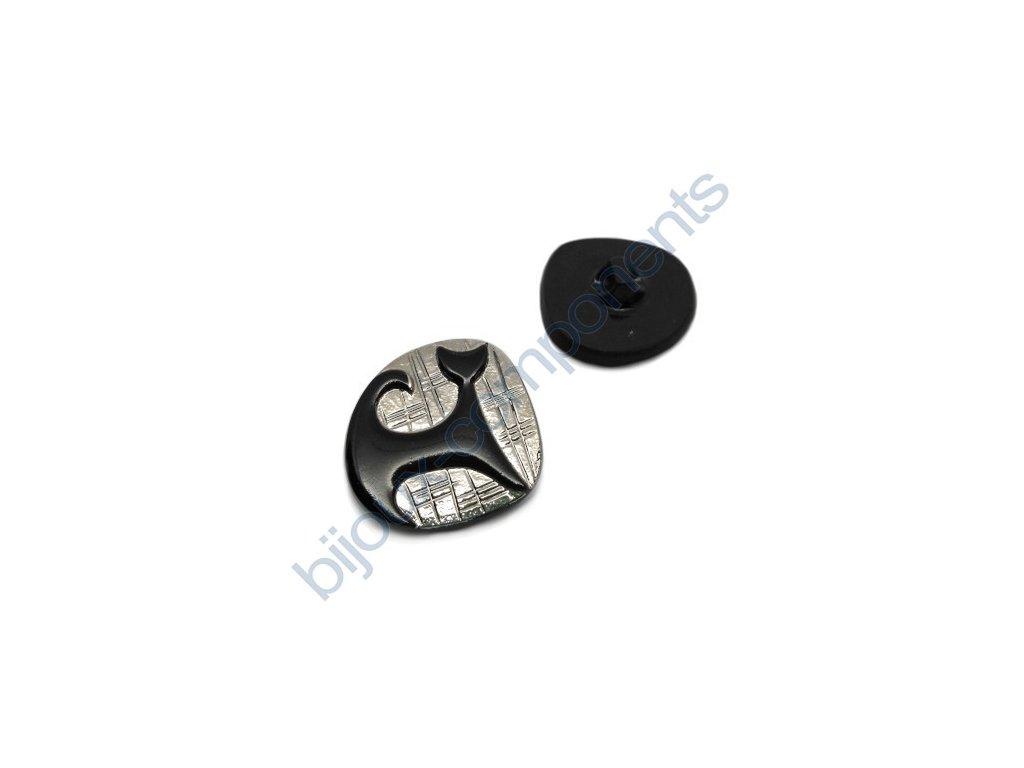 Skleněný knoflík s motivem kočky, černo-platinový
