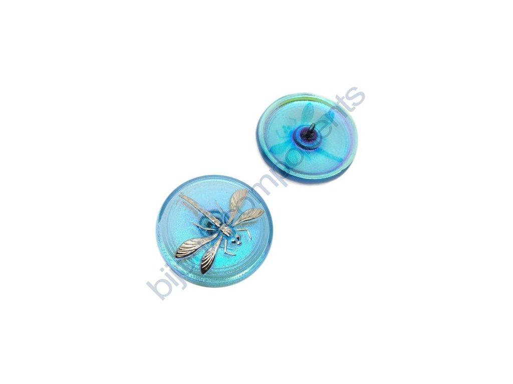Skleněný knoflík s motivem vážky, modrý, se spodním pokovem, motiv platinový