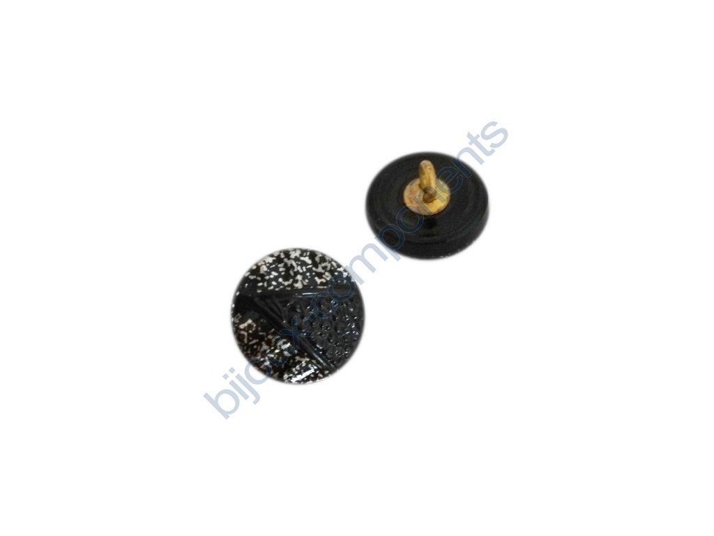 Skleněný knoflík, černý s platinovým vzorem