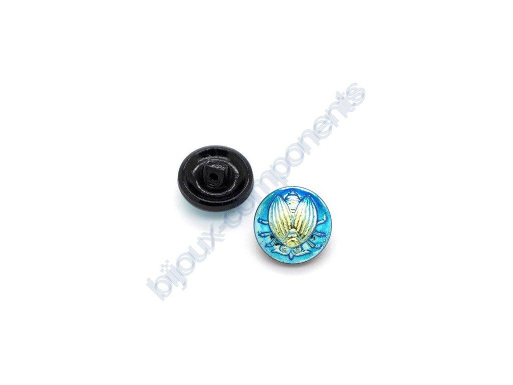 Skleněný knoflík s motivem mouchy, černý s modro-zlatým AB pokovem