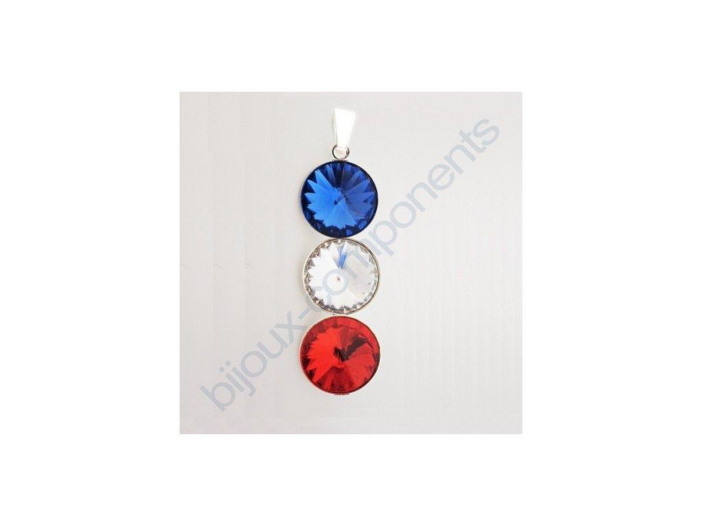 Dárková sada s kameny Swarovski crystals v národních barvách, rivoli 1122, postříbřené komponenty