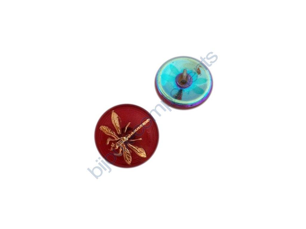 Skleněný knoflík s motivem vážky, červený, se spodním pokovem, motiv zlatý