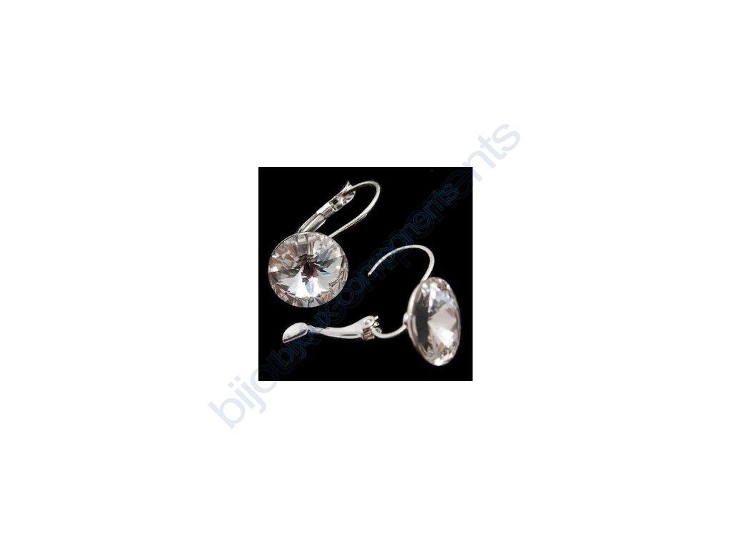 Náušnice s kameny Swarovski crystals, rivoli 1122, crystal foiled / postříbřené komponenty