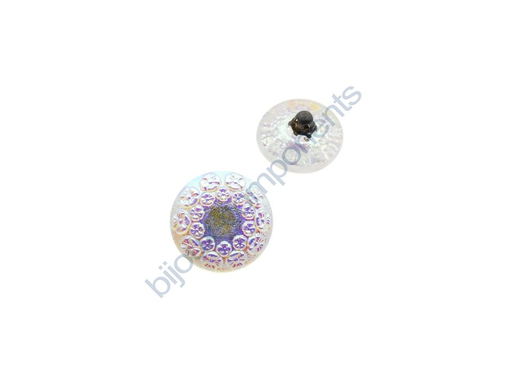 Skleněný knoflík s květinovým motivem, krystal s vrchním AB pokovem