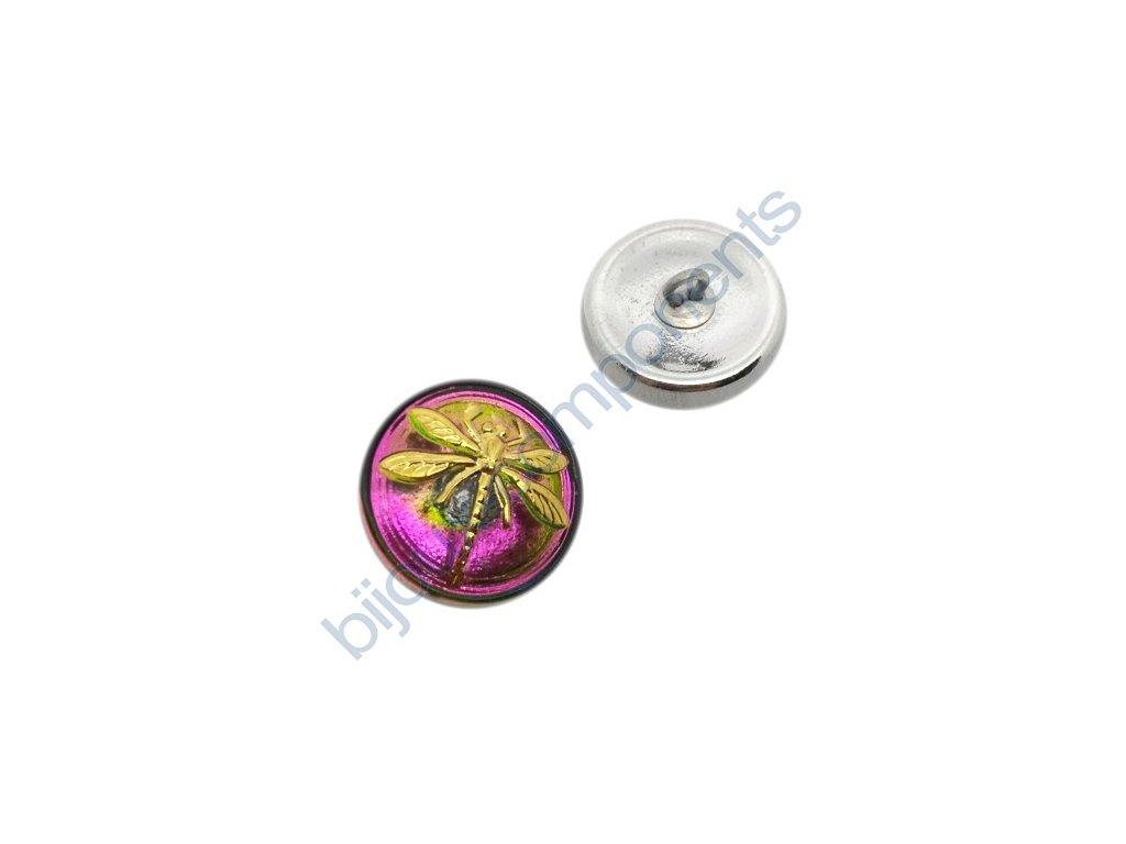 Skleněný knoflík s motivem vážky, duhový dorůžova, se spodním pokovem, motiv zlatý