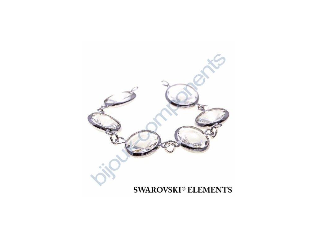 SWAROVSKI ELEMENTS řetízek s kameny, rhodiovaný, crystal, SS47