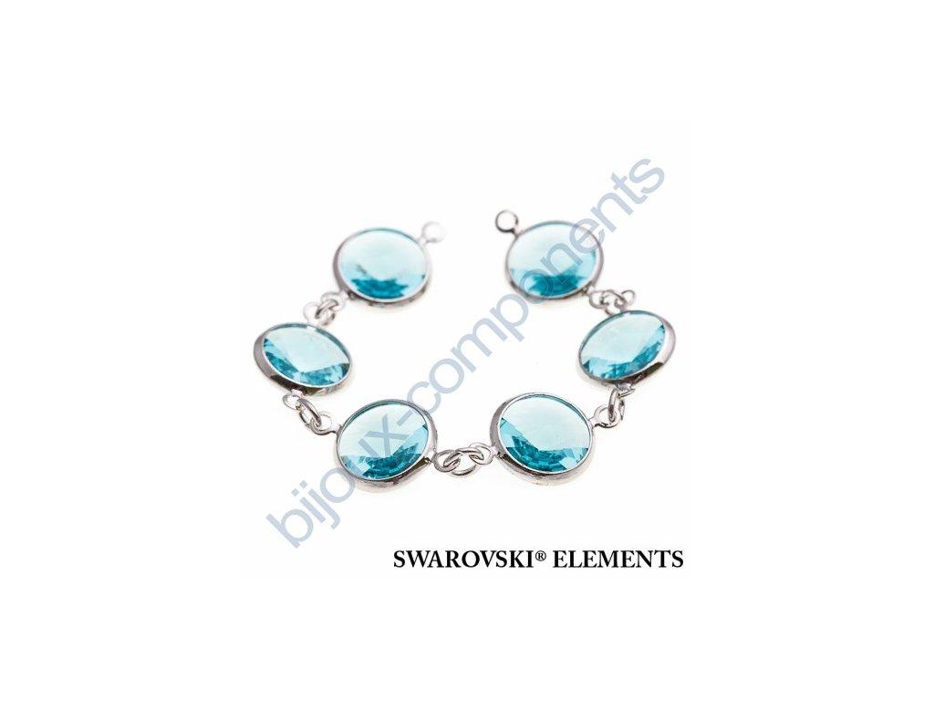 SWAROVSKI ELEMENTS řetízek s kameny, rhodiovaný, light turquoise, SS47