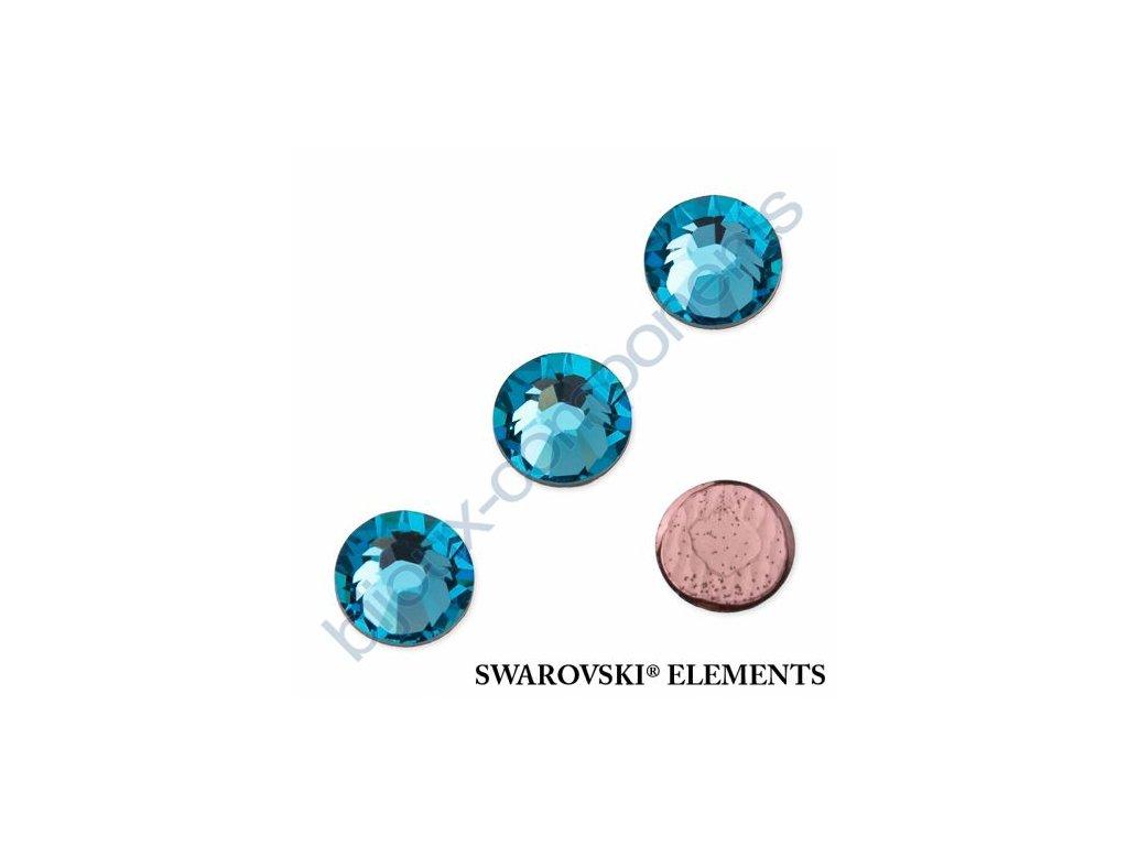 SWAROVSKI ELEMENTS šatonová růže - nažehlovací (s vrstvou lepidla), aquamarine, SS16