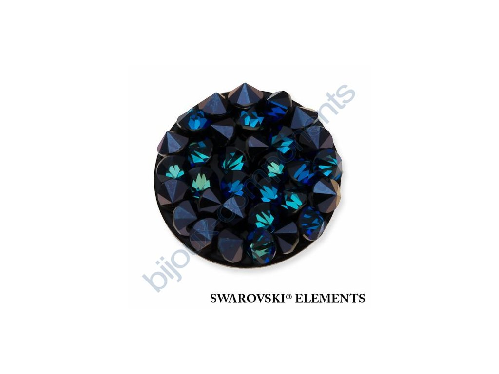 SWAROVSKI ELEMENTS - Crystal rocks, černý, crystal bermuda blue, 15mm
