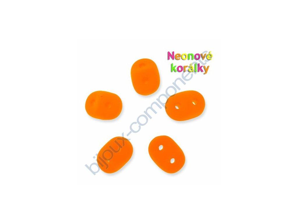 Neonové korálky s UV efektem, dvoudírkový mačkaný rokajl, oranžový