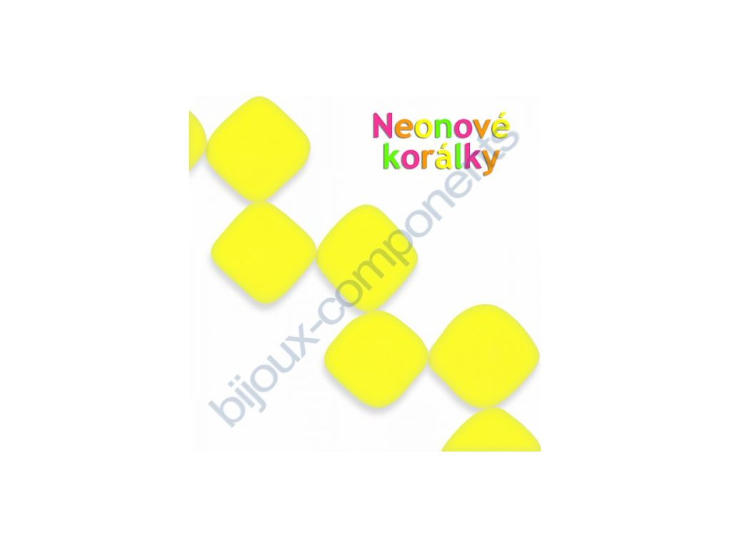 Neonové korálky s UV efektem, kostičky, žluté
