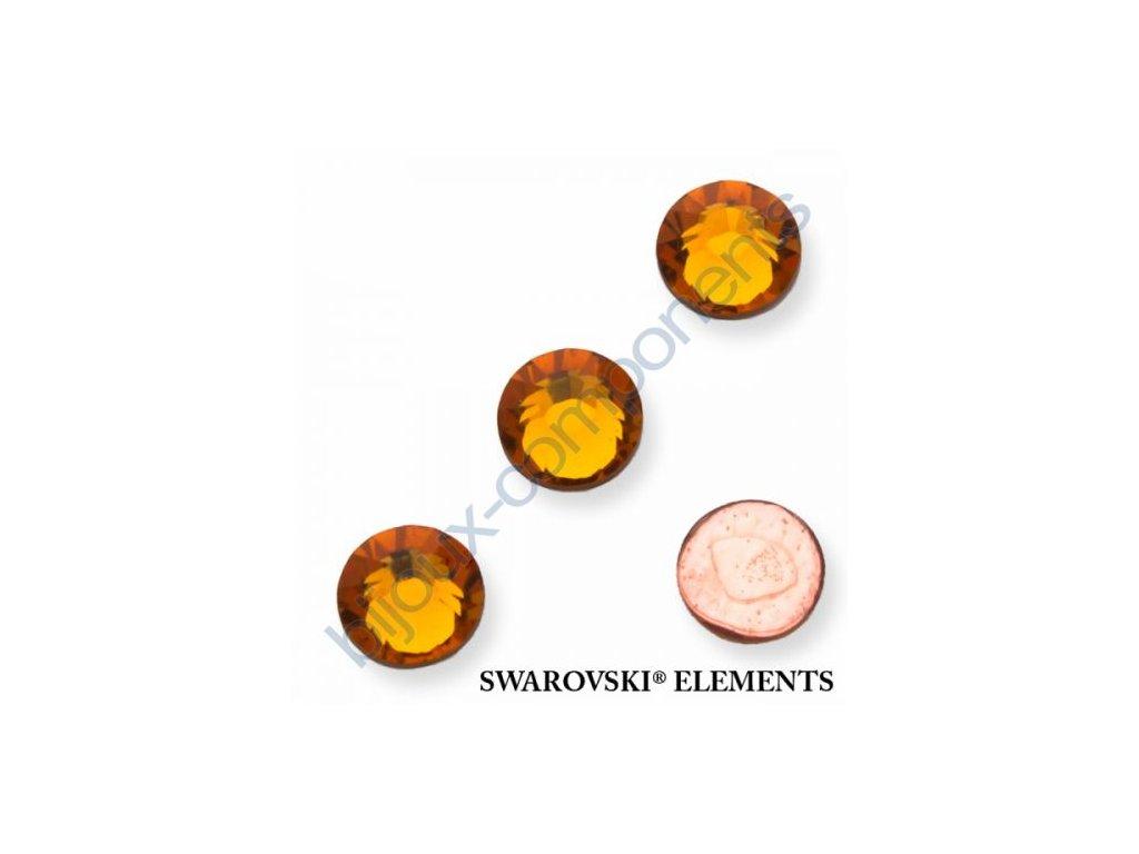 SWAROVSKI ELEMENTS šatonová růže - nažehlovací (s vrstvou lepidla), topaz, SS16