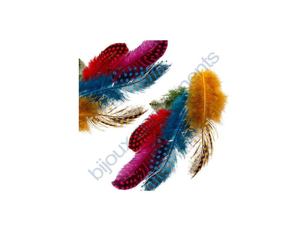 Peří z perliček - barevné