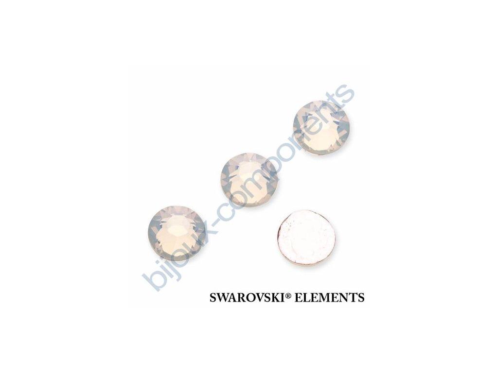 SWAROVSKI ELEMENTS šatonová růže - nažehlovací (s vrstvou lepidla), white opal, SS20
