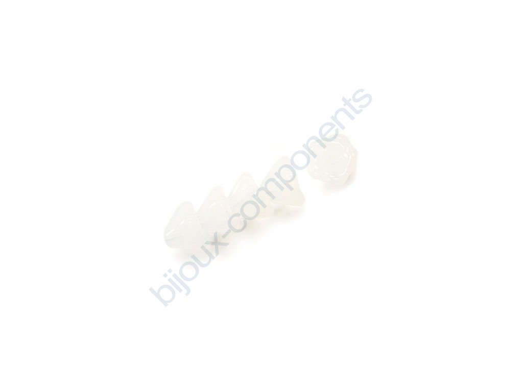 Skleněné korálky mačkané - kytičky, zvonečky, bílé