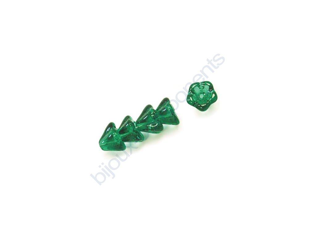 Skleněné korálky mačkané - kytičky, zvonečky, zelené