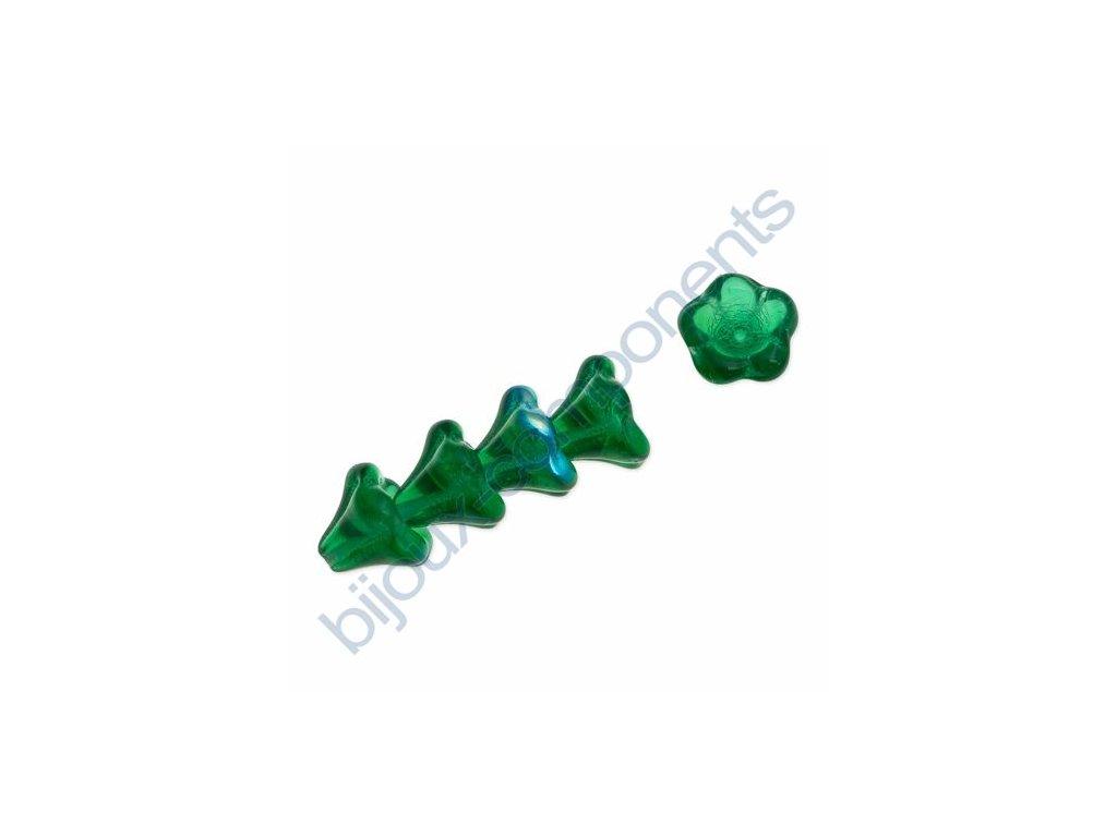 Skleněné korálky mačkané - kytičky, zvonečky, zelené AB