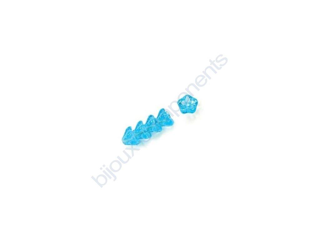 Skleněné korálky mačkané - kytičky, zvonečky, světle modré