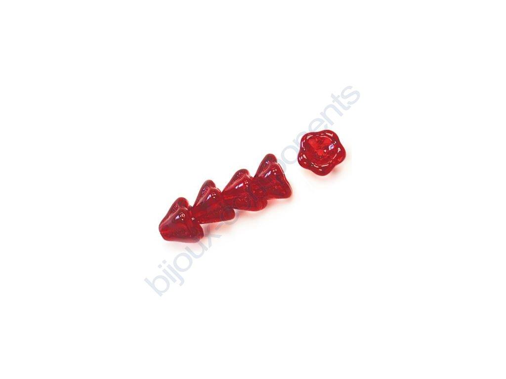 Skleněné korálky mačkané - kytičky, zvonečky, červené