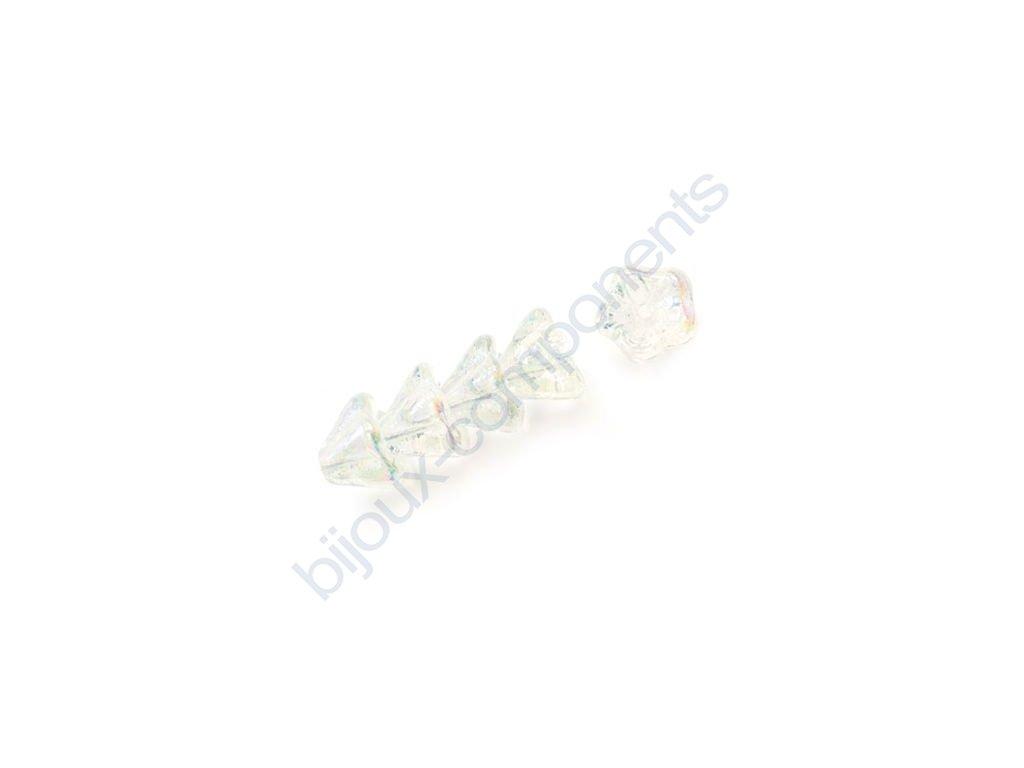 Skleněné korálky mačkané - kytičky, zvonečky, krystal AB