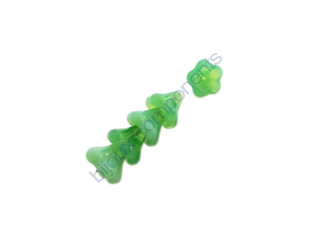 Skleněné korálky mačkané - kytičky, zvonečky, opálově zelené