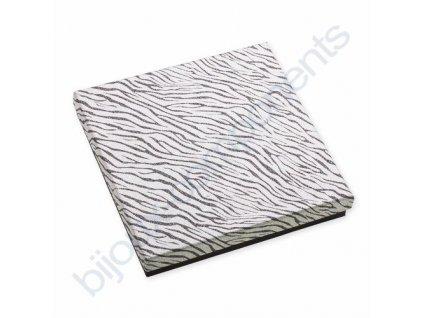 Krabička na šperky - stříbrno/černá zebra, cca 150x150x27mm