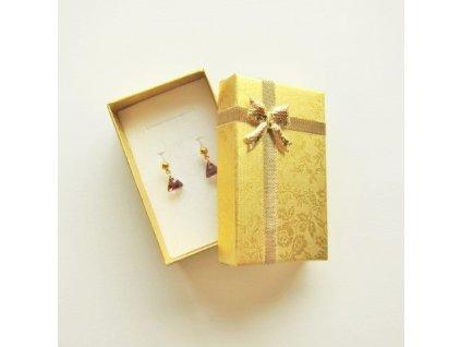 Krabička na šperky - zlatá s květinovým vzorem, cca 50x80x28mm